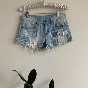 Blank Jeans Light Wash Patchwork Denim Shorts